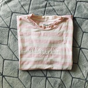 Vintage Guess Pink Striped Shirt